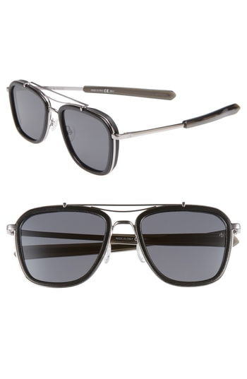 Men's Rag & Bone 54Mm Polarized Aviator Sunglasses - Ruthenium Black