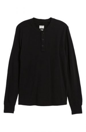 Men's Rag & Bone Classic Cotton Henley, Size Small - Black