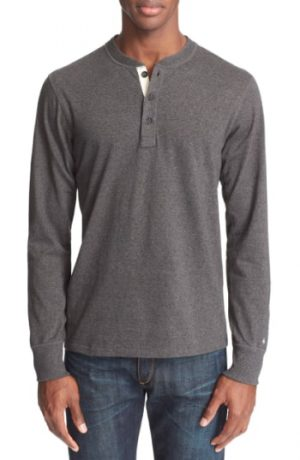 Men's Rag & Bone Standard Issue Henley, Size Medium - Grey