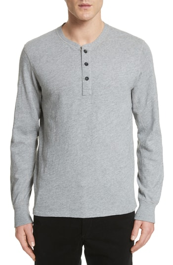 Men's Rag & Bone Standard Issue Slub Cotton Henley, Size X-Small - Grey