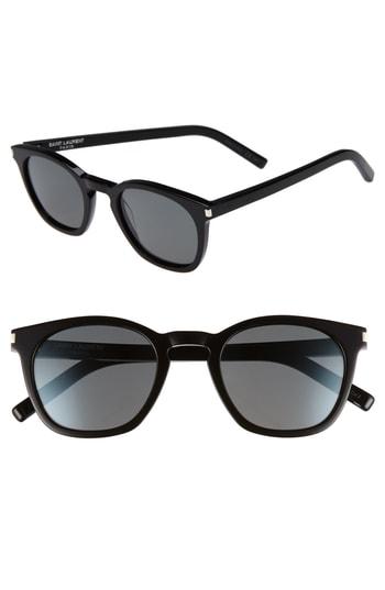 Men's Saint Laurent 49Mm Sunglasses - Black