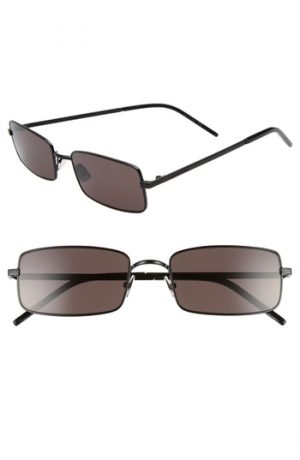 Men's Saint Laurent 56Mm Rectangular Sunglasses - Black