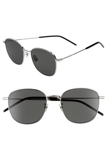 Men's Saint Laurent 56Mm Square Sunglasses - Gold