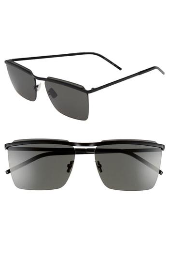 Men's Saint Laurent 60Mm Rectangular Sunglasses - Black