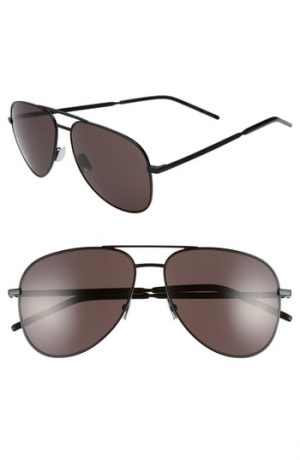 Men's Saint Laurent Classic 11 Folk 59Mm Aviator Sunglasses - Black