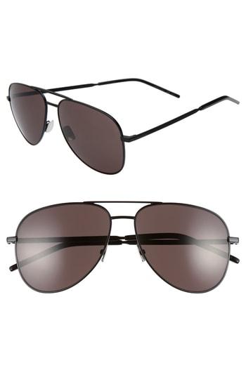 Men's Saint Laurent Classic 11 Folk 59Mm Aviator Sunglasses - Black
