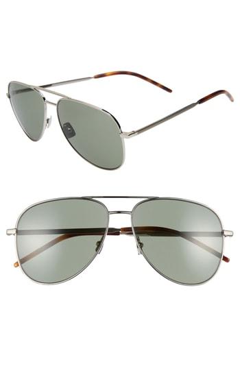 Men's Saint Laurent Classic 11 Folk 59Mm Aviator Sunglasses - Silver