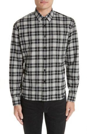 Men's Saint Laurent Folk Cotton Cashmere Flannel Sport Shirt