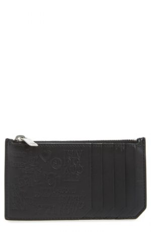 Men's Saint Laurent Fragments Stamp Leather Zip Wallet -