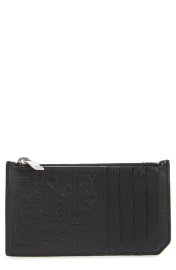 Men's Saint Laurent Fragments Stamp Leather Zip Wallet -