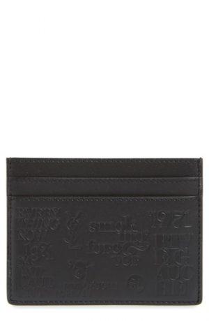 Men's Saint Laurent Logo Embossed Leather Card Case -