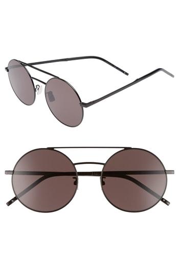 Men's Saint Laurent Sl 210/f 56Mm Round Aviator Sunglasses -