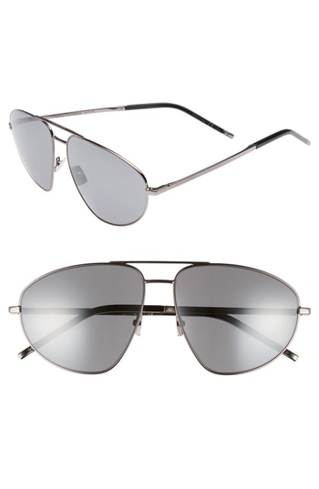 Men's Saint Laurent Sl 211 60Mm Aviator Sunglasses - Dark Ruthenium/ Black