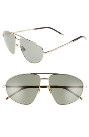 Men's Saint Laurent Sl 211 60Mm Aviator Sunglasses - Gold/ Dark Havana