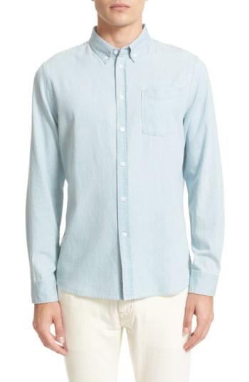 Men's Saturdays Nyc Crosby Denim Slim Fit Sport Shirt, Size XX-Large - Blue