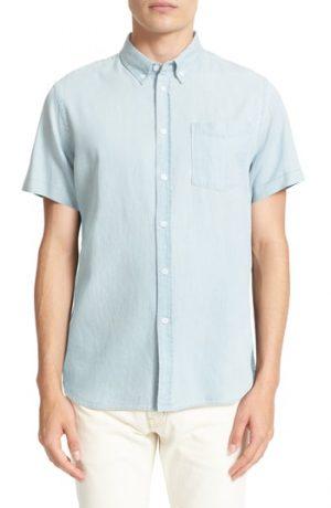 Men's Saturdays Nyc Esquina Slim Fit Denim Sport Shirt, Size Small - Blue