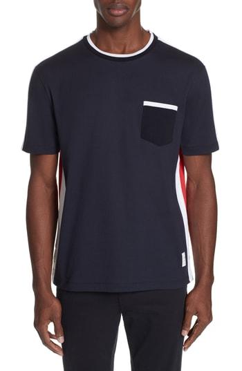 Men's Thom Browne Colorblock T-Shirt, Size 5 - Blue