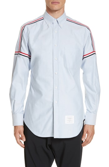 Men's Thom Browne Taped Sport Shirt, Size 1 - Blue