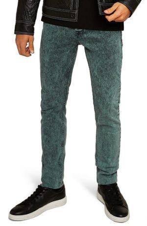 Men's Topman Acid Wash Stretch Skinny Jeans, Size 30 34 - Grey