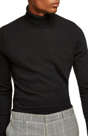 Men's Topman Classic Fit Turtleneck Sweater, Size X-Small - Black