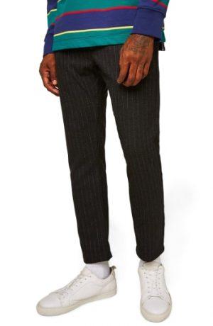Men's Topman Skinny Fit Crop Stripe Trousers, Size 30 x 34 - Grey