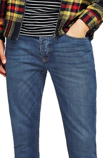 Men's Topman Stretch Skinny Fit Jeans, Size 38 x 34 - Blue