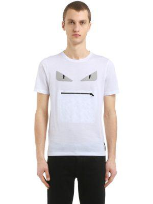 Monster Zip Mouth Cotton Jersey T-shirt