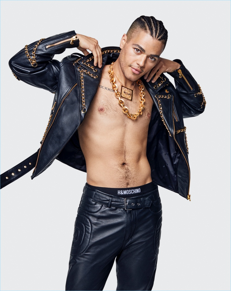 Sergio D'arcy Lane sports a leather biker jacket and pants from the Moschino [tv] H&M collection.