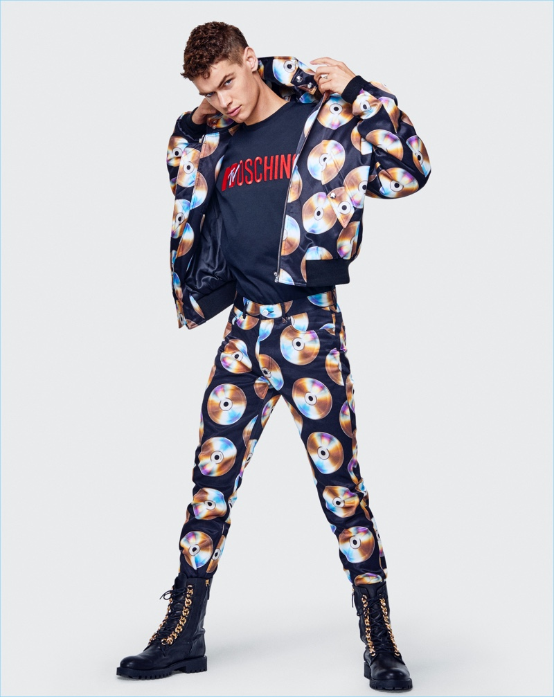 Keon Smith rocks a look from the Moschino [tv] H&M collection.