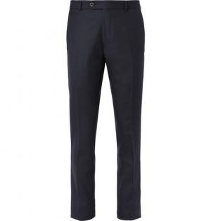 Mr P. - Navy Worsted Wool Trousers - Navy