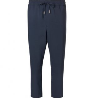 Mr P. - Slim-Fit Cropped Stretch Virgin Wool Drawstring Trousers - Navy