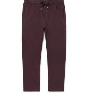 Mr P. - Slim-Fit Stretch-Virgin Wool Drawstring Trousers - Merlot