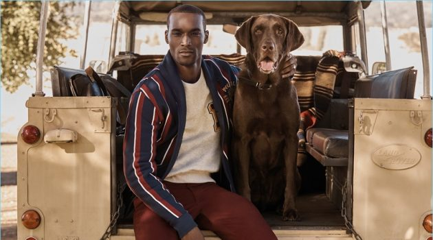 Corey Baptiste models a look from Mr Porter's exclusive POLO Ralph Lauren capsule collection.