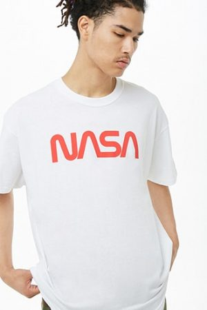 NASA Graphic Tee by 21 MEN White/red