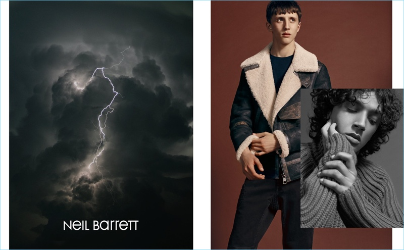 Sporting a shearling jacket, Moises Campelo joins Callum Stoddart for Neil Barrett's fall-winter 2018 campaign.