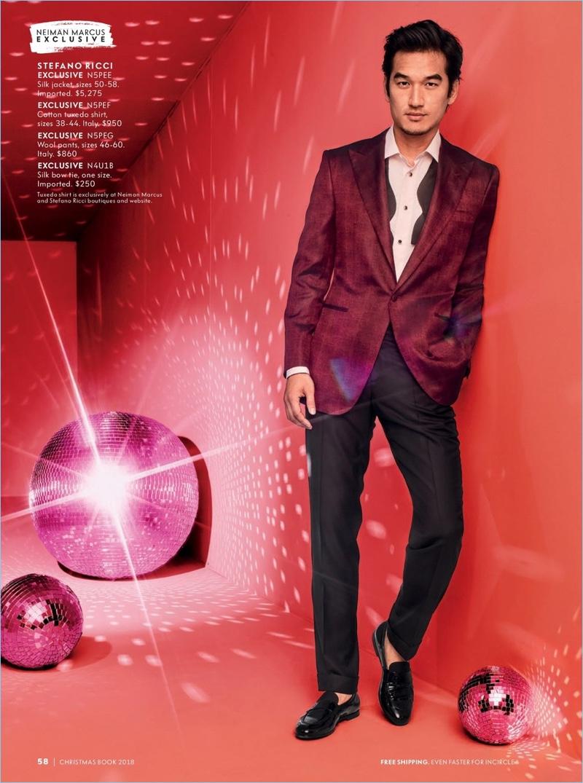 Tony Chung dons a Stefano Ricci silk jacket, tuxedo shirt, wool pants, and silk bow-tie.