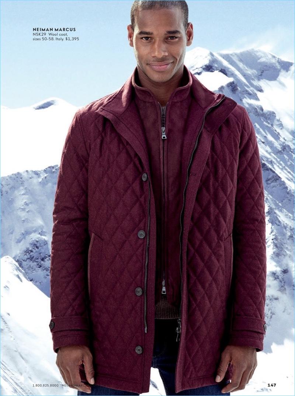 Sacha M'Baye sports a wool coat from Neiman Marcus' in-house brand.