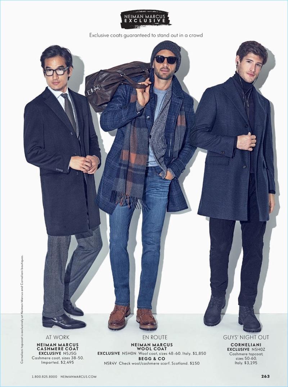 Left to Right: Tony Chung sports a Neiman Marcus cashmere coat. Rafael Lazzini wears a Neiman Marcus wool coat. Ryan Tift dons a Corneliani cashmere topcoat.
