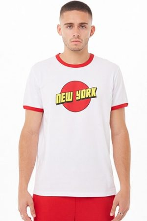 New York Graphic Ringer Tee by 21 MEN White/red