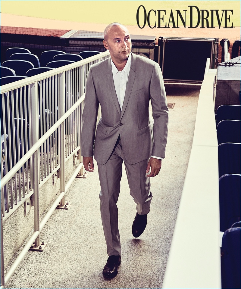 Connecting with Ocean Drive, Derek Jeter dons a two-piece wool suit by Dolce & Gabbana. He also wears an Armani Collezioni shirt and his own dress shoes.
