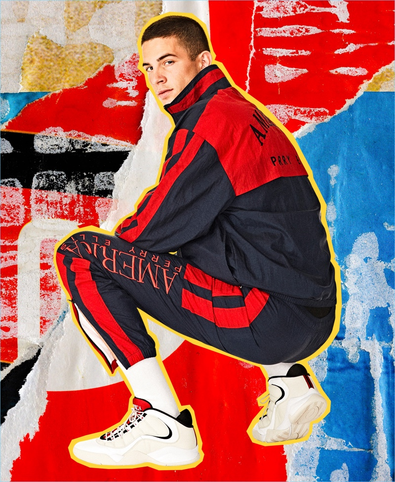 Keegan Rodriguez sports a tracksuit from the Perry Ellis America capsule collection.