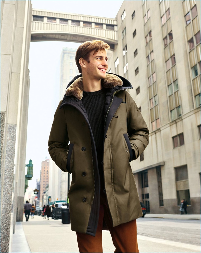Photographed in New York, Ben Allen wears a parka for Peuterey's fall-winter 2018 campaign.