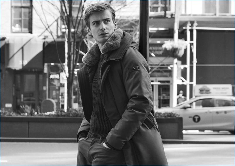 British model Ben Allen fronts Peuterey's fall-winter 2018 campaign.