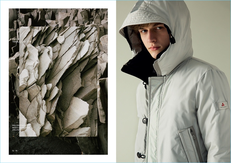Connecting with Peuterey, Max Barczak wears a hooded bomber.