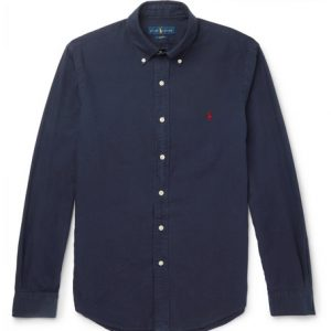Polo Ralph Lauren - Slim-Fit Button-Down Collar Garment-Dyed Cotton Oxford Shirt - Navy