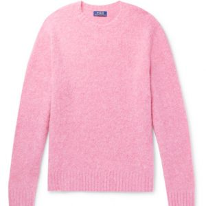 Polo Ralph Lauren - Suede Elbow-Patch Wool and Cashmere-Blend Sweater - Pink