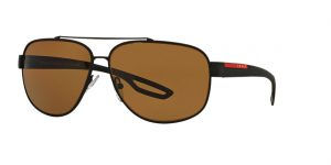 Prada Linea Rossa Black Matte Rectangle Sunglasses - ps 58qs