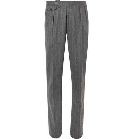 Ralph Lauren Purple Label - Grey Gregory Pleated Pinstriped Wool Suit Trousers - Gray