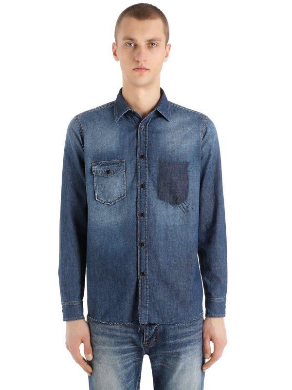 Raw Cut Hem Cotton Denim Western Shirt