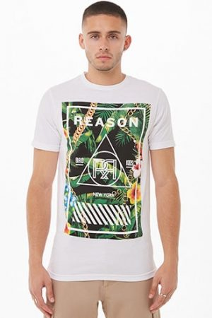 Reason Logo Tropical Floral Graphic Tee by 21 MEN White